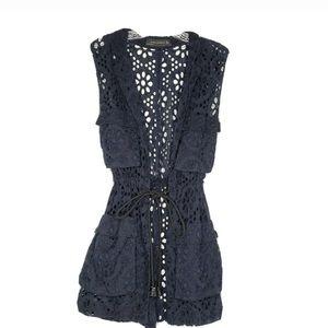 Zara Woman Eyelet Drawstring Vest Sz Small Black